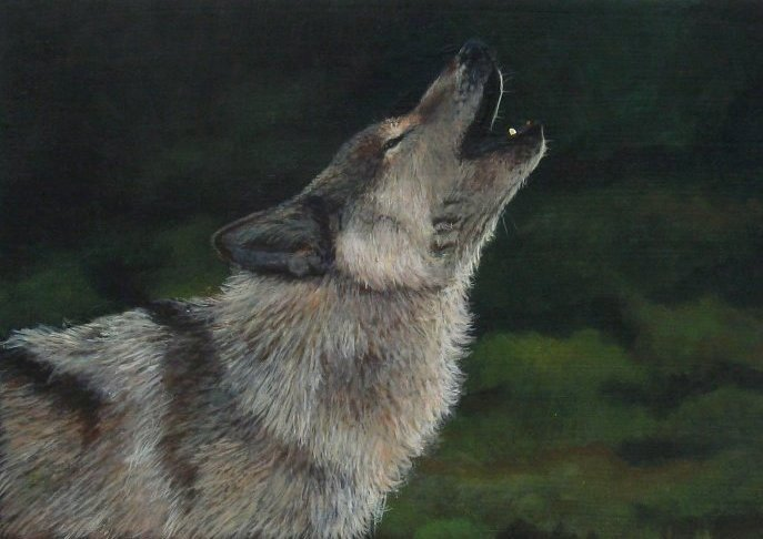 The Lone Wolf - acrylic painting by Giselle-M