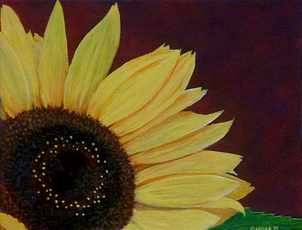 The simple sunflower acrylic painting by giselle m on for How to paint sunflowers in acrylic