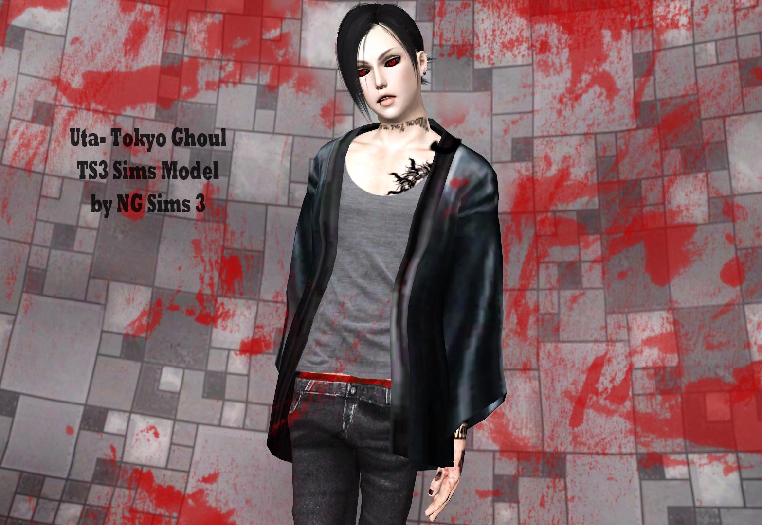 Uta - Tokyo Ghoul TS3 Sims Model by ng9