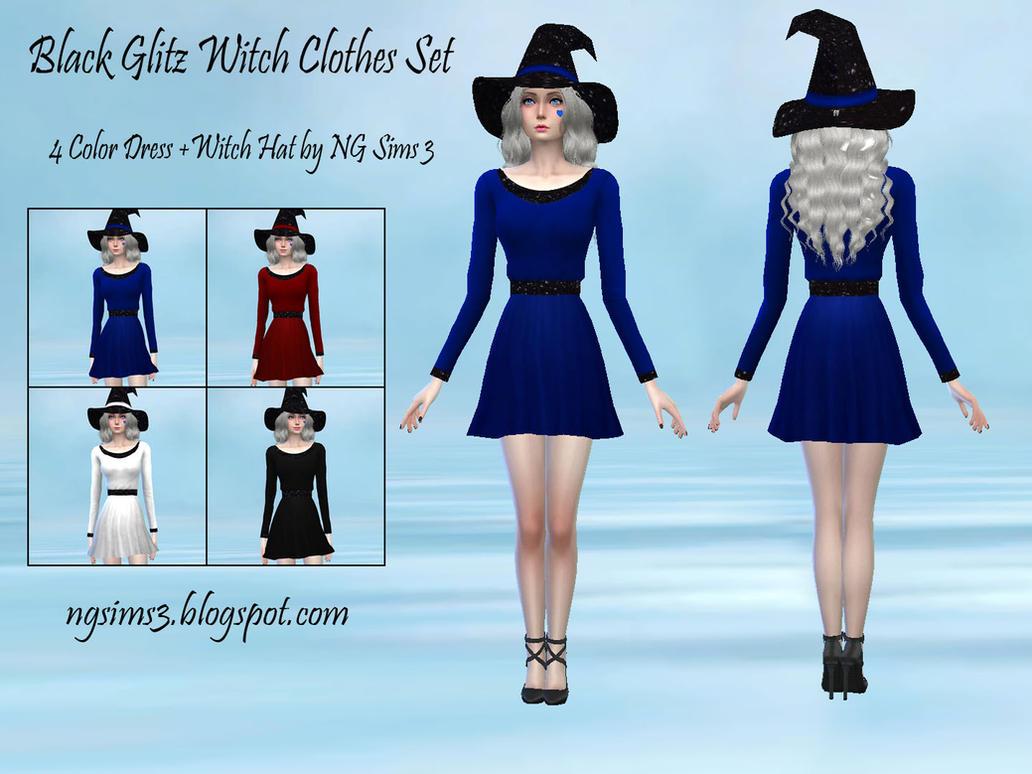 Black Glitz Witch Clothes Set - TS4CC by ng9