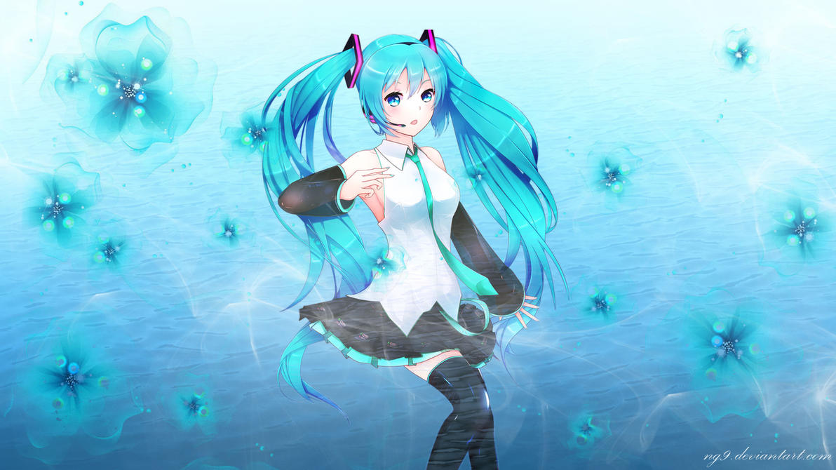 Hatsune Miku - HD Aqua Wallpaper by ng9