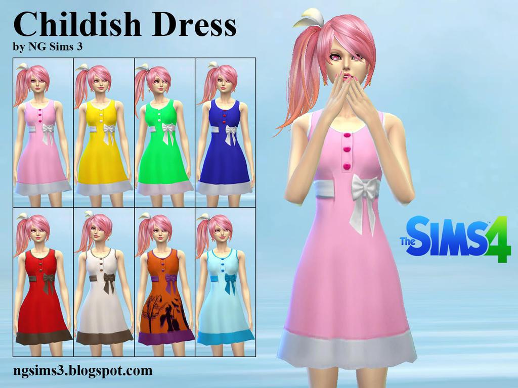Childish Dress - TS4 CC by ng9