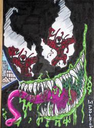 Venom Vs. Carnage WE ACEO by SurfTiki