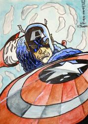 Captian America Sketch card by SurfTiki