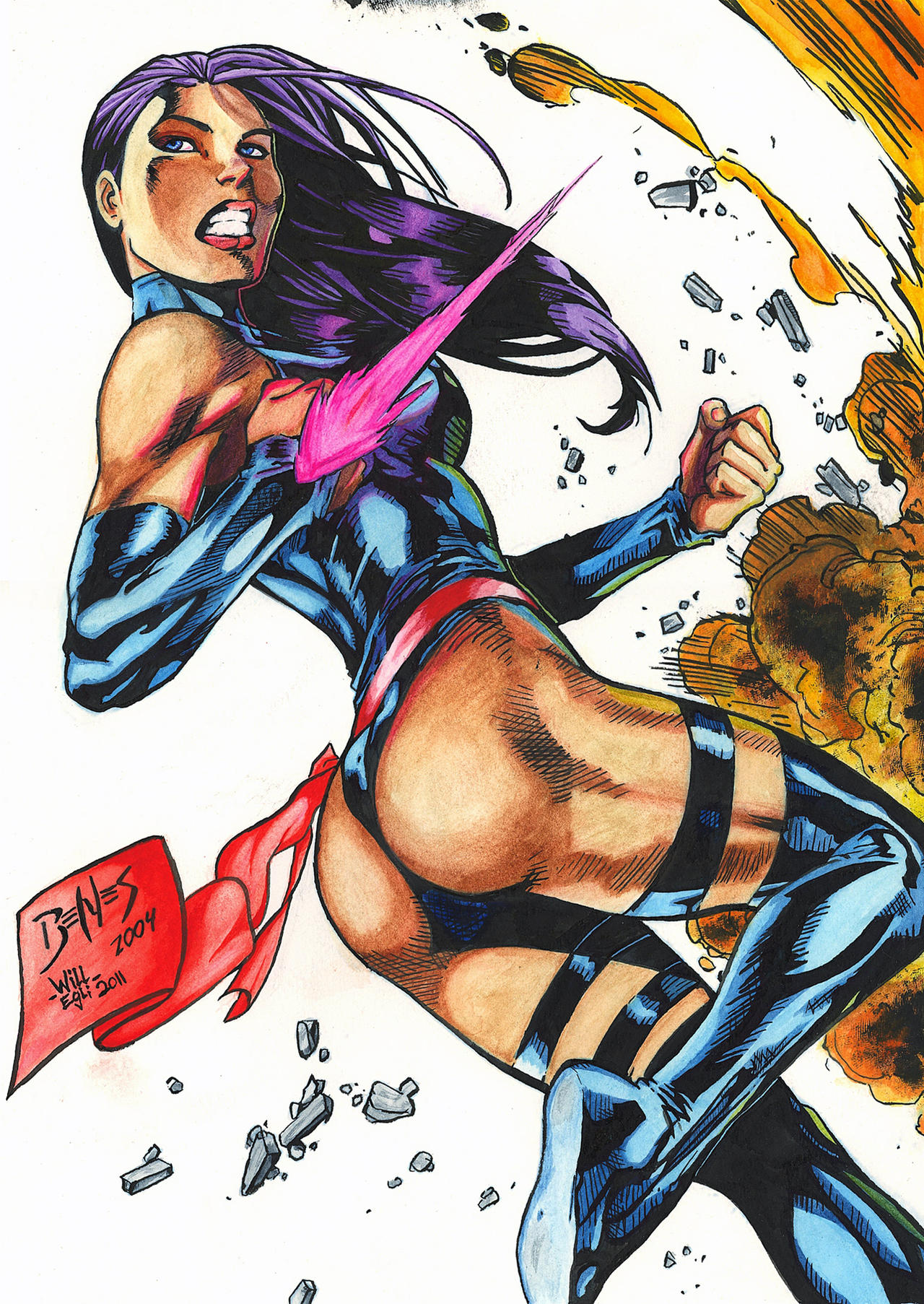 Psylocke Blast Watercolor - Benes - Egli by SurfTiki
