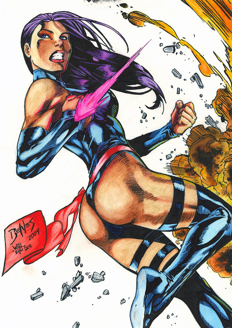 Psylocke Blast Watercolor - Benes - Egli by SurfTiki