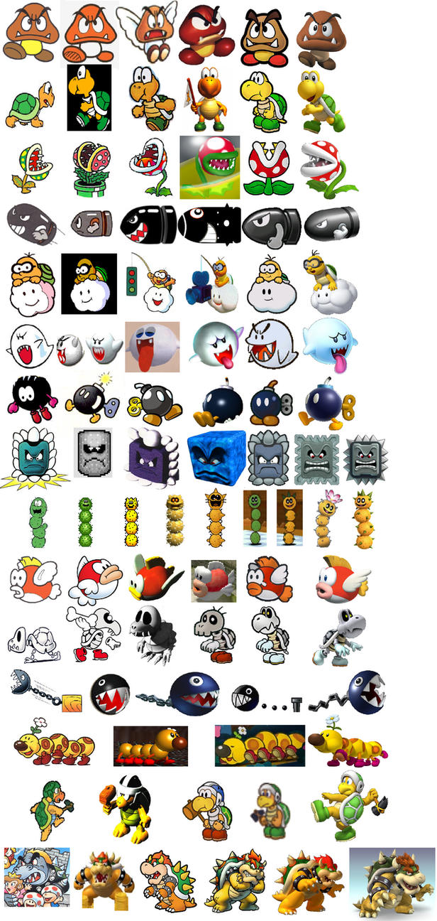 Mario Enemies Through The Years by Chaoslink1 on DeviantArt