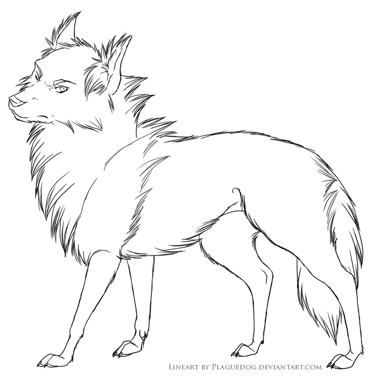 grumpy wolf lines by plaguedog on deviantart
