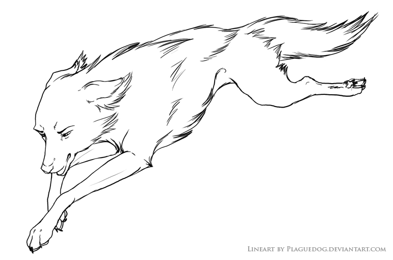 Lineart Wolf Tattoo : Running wolf lineart for you by plaguedog on deviantart