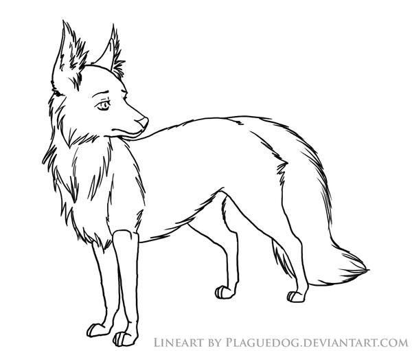 Line Drawing Fox : Fox lineart by plaguedog on deviantart