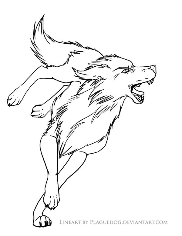 Simple Wolf Lineart : Bitey wolf lineart by plaguedog on deviantart