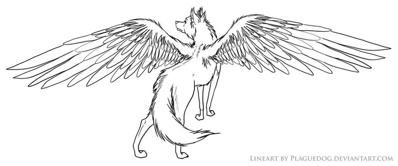 Winged wolf lineart by plaguedog on deviantart for Coloring pages of wolfs