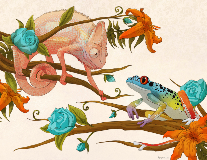 Chameleon and Frog by *Plaguedog