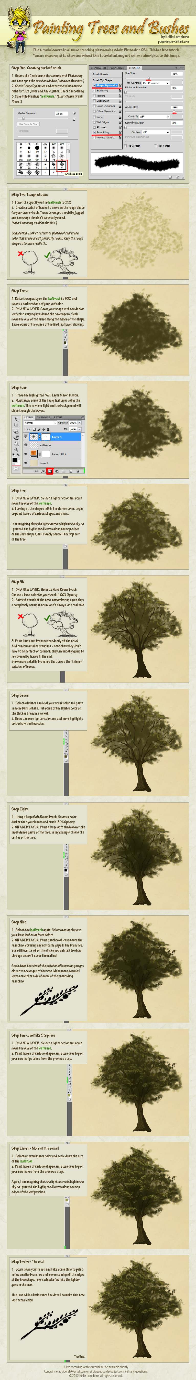 How to Digitally Paint Trees and Bushes Tutorial by Plaguedog