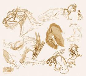 Horse Dragon design sketch dump