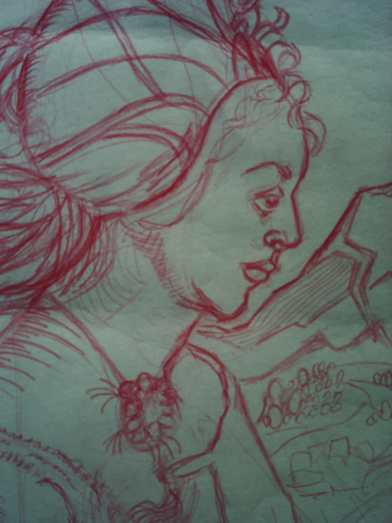close up red medival lady by larry miller by desertdogg2006