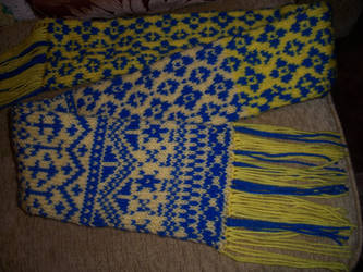 Blue and Yellow Fair Isle Scarf by goodiesbasket