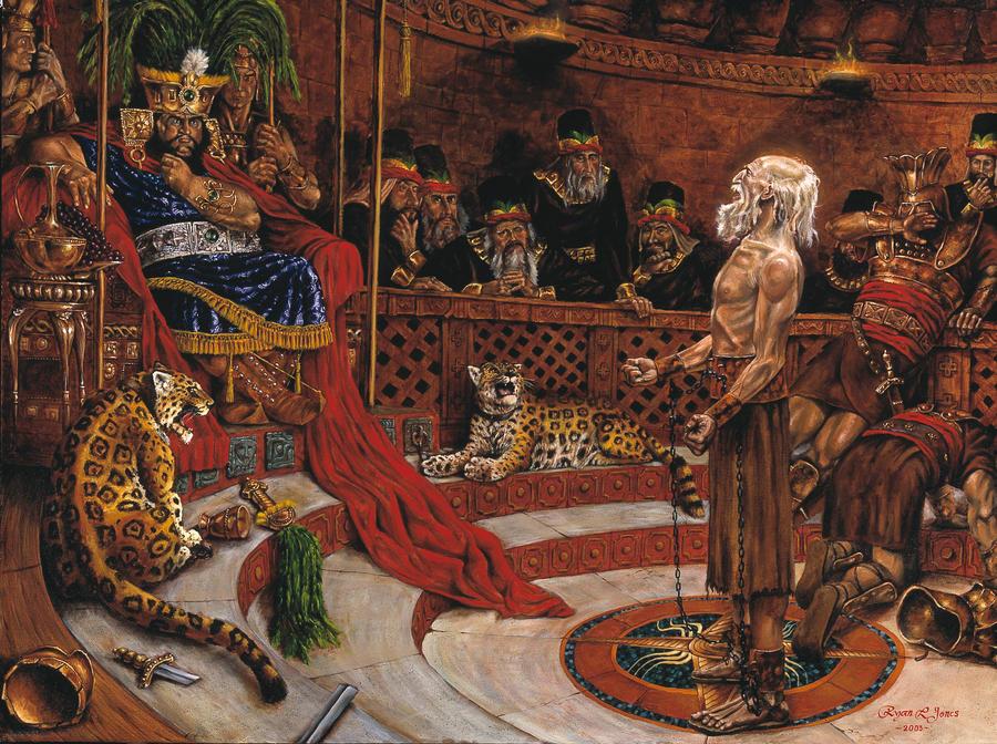 Abinadi predigt vor dem schlechten König Noah. Die Wachen des Königs können ihm nichts anhaben, weil er durch Gottes Macht geschützt wird.
