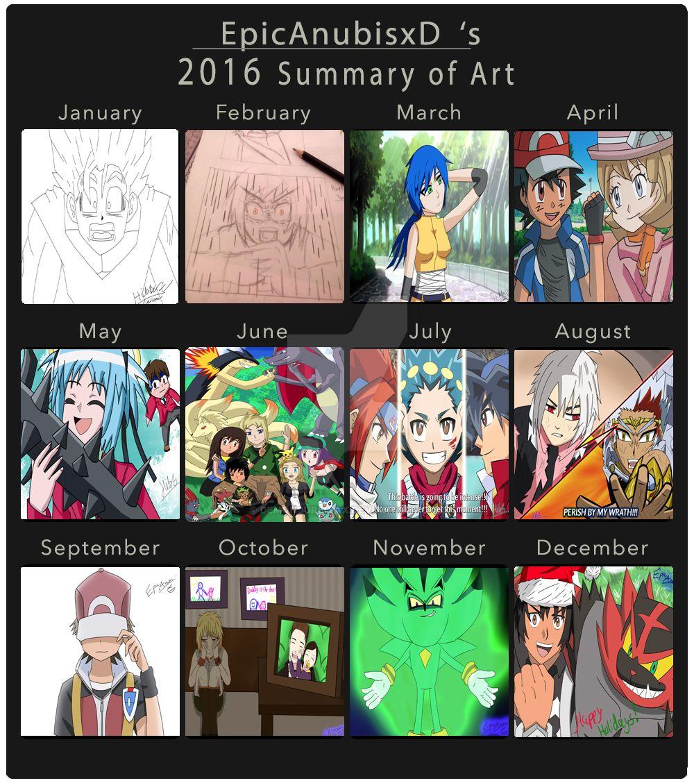 My 2016 Summary of Art by EpicAnubisxD