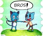 Blue Cat Bros! by Dhendersonart