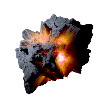 Asteroid Meteor Orange| Transparent Space Stock