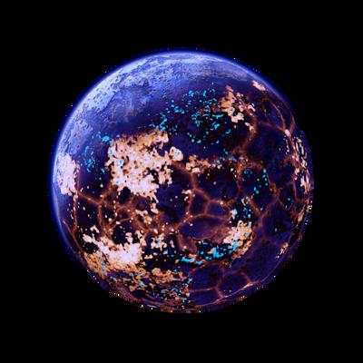 Blue luminous Planet Moon Lava + acid Space Stock