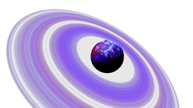 Purple Blue Planet Purple rings Space SciFi Stock