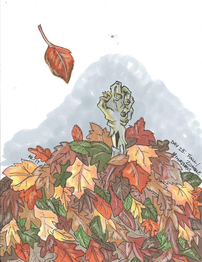 Inktober 2017, Day 28- Fall/Zombie by Badseedshalo