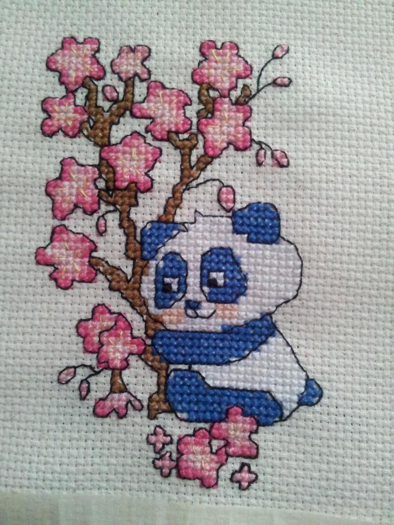 cute panda cross stitch by artcrossstitch