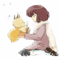 Shinobu and little fox by sjdx
