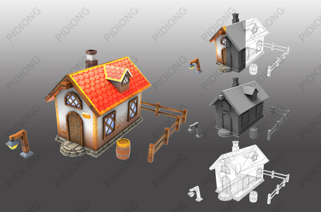 Low Poly House by Pidiong