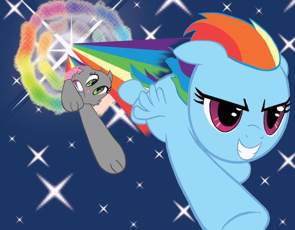 Nyan Cat And Rainbow Dash Rainbow Dash vs Nyan Cat by