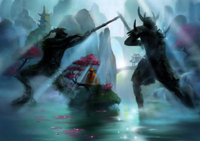 monk, ancient battle by AlexPotapov