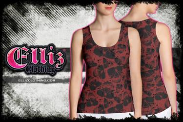 Red Sunglasses Skull Tank Top by Elliz Clothing by Elisa-Feliz