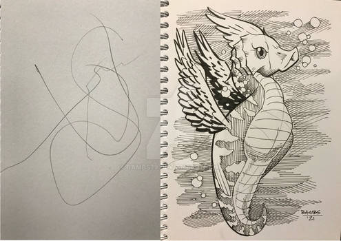 Scribble Game - Winged Seahorse