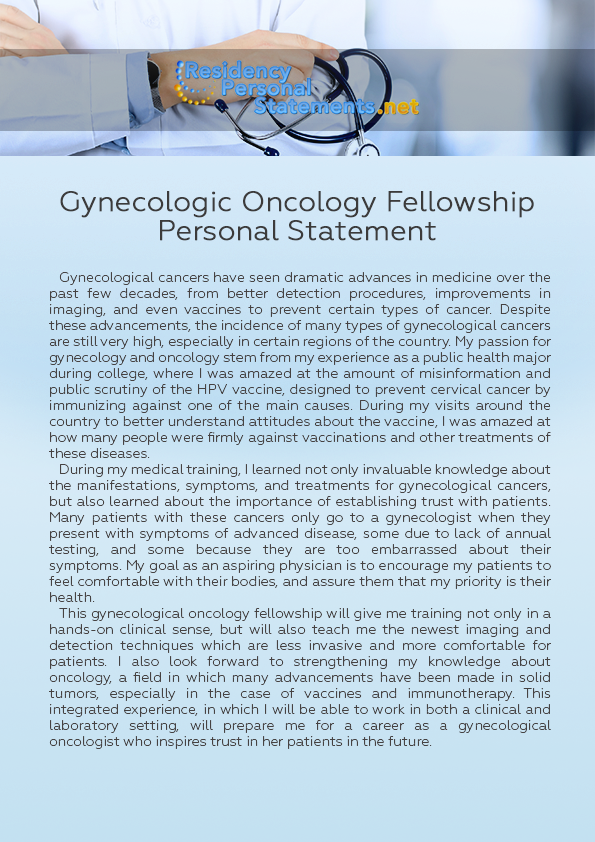Gynecologic Oncology Fellowship Personal Statement by
