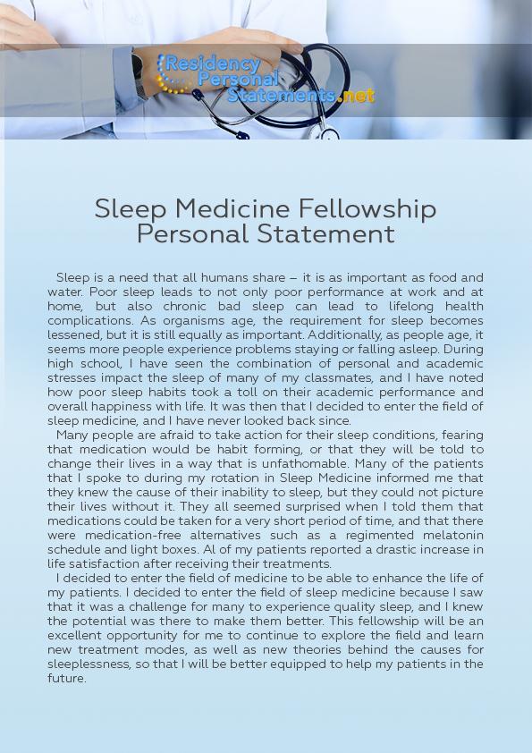 Sleep Medicine Fellowship Personal Statement by ResidencyPSSampleUSA