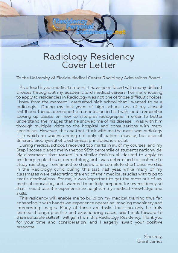 Radiology Residency Cover Letter By ResidencyPSSampleUSA ...