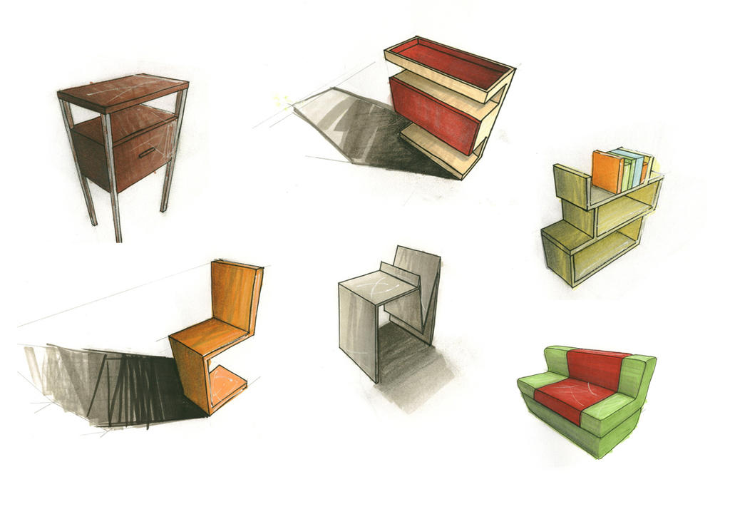 Furniture sketches by lla-te on DeviantArt