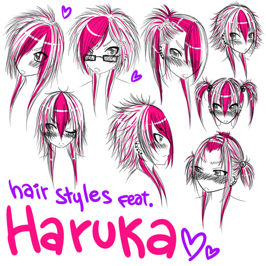 Different hairstyles of Haruka by HiroPonLoverGirl Anime Hairstyles