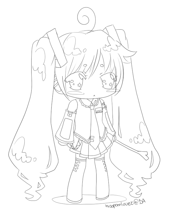 view larger image image - Hatsune Miku Chibi Coloring Pages