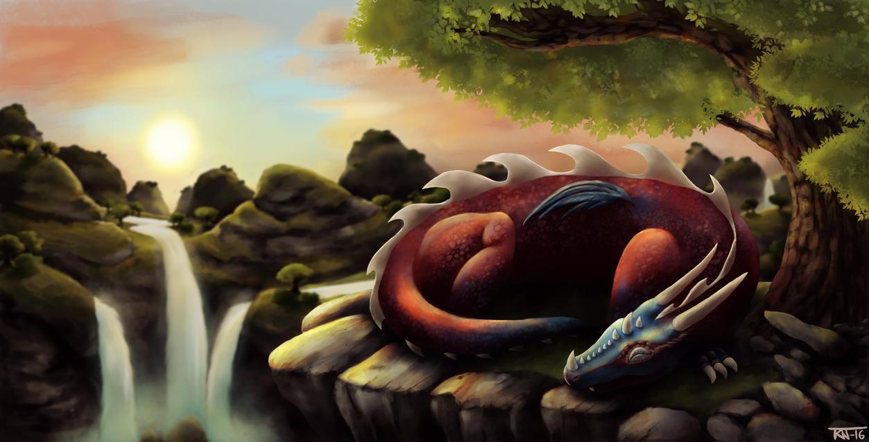 Sleepy dragon by trinemusen1