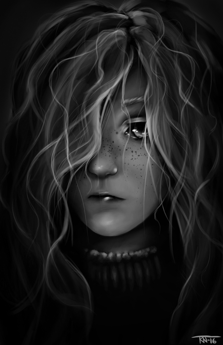 Girl BW by trinemusen1