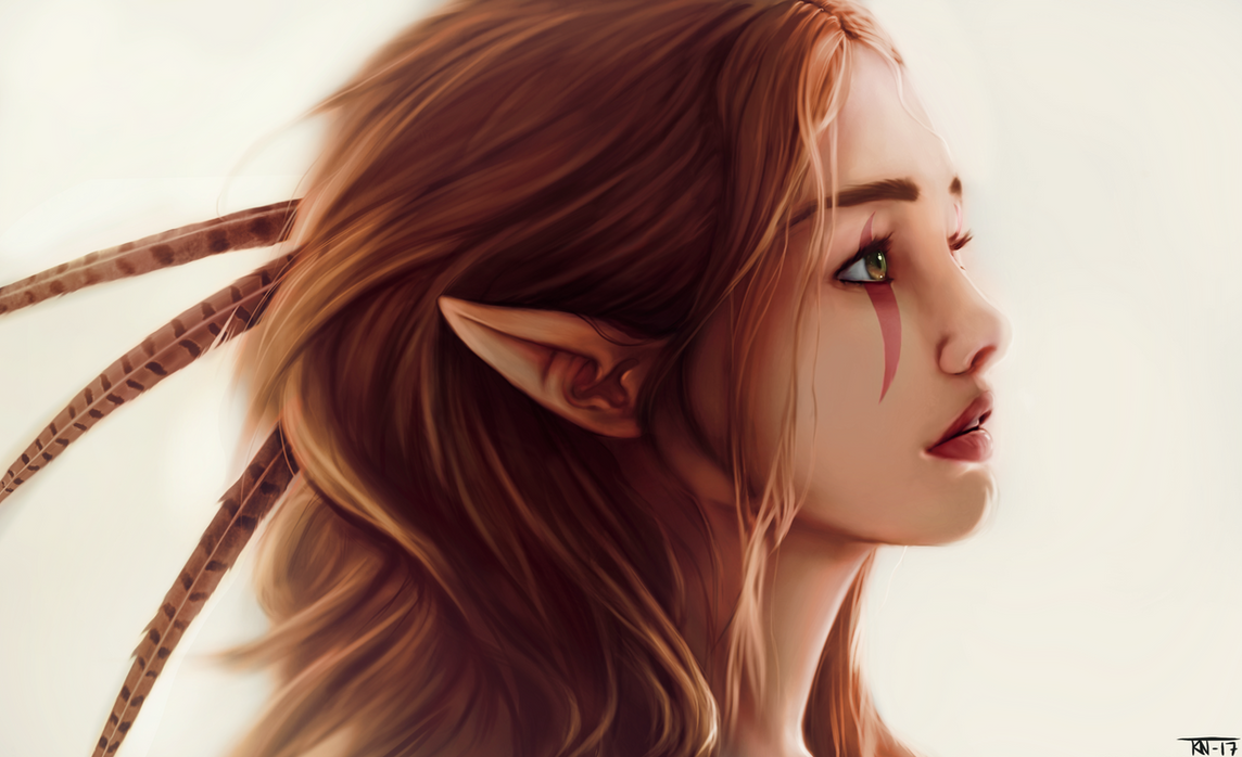 Green eyed elf by trinemusen1