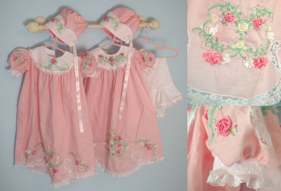Twin Heirloom Embroidered Baby Dresses by aimeekitty