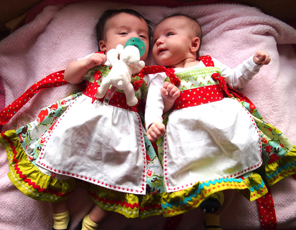 Twin Baby Girl Christmas Dresses by aimeekitty