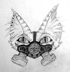 Cheshire Cat with Gas Mask by MarshmallowGherkin