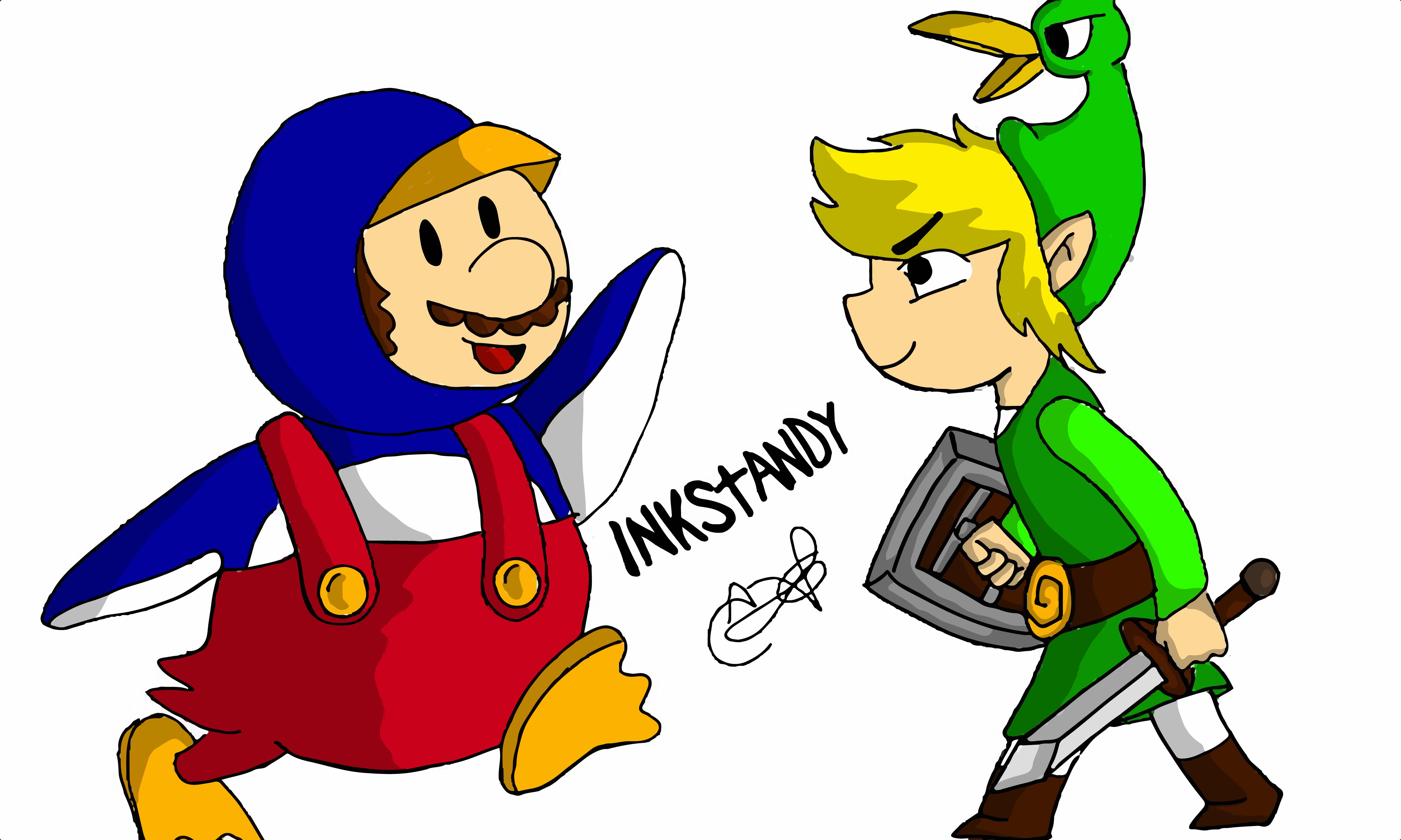 Penguin Mario VS Toon Link by Inkstandy
