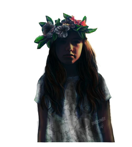 Girl with Flowers on her Head by Inkstandy