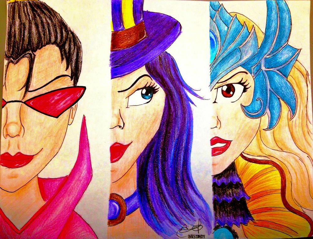 Vayne Caitlyn Nami League of Legends Fan Art by Inkstandy